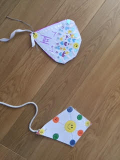 Very happy-looking kites from Hannah and Will!