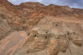 The hills and caves above Qumran where many of the Dead Sea Scrolls were found